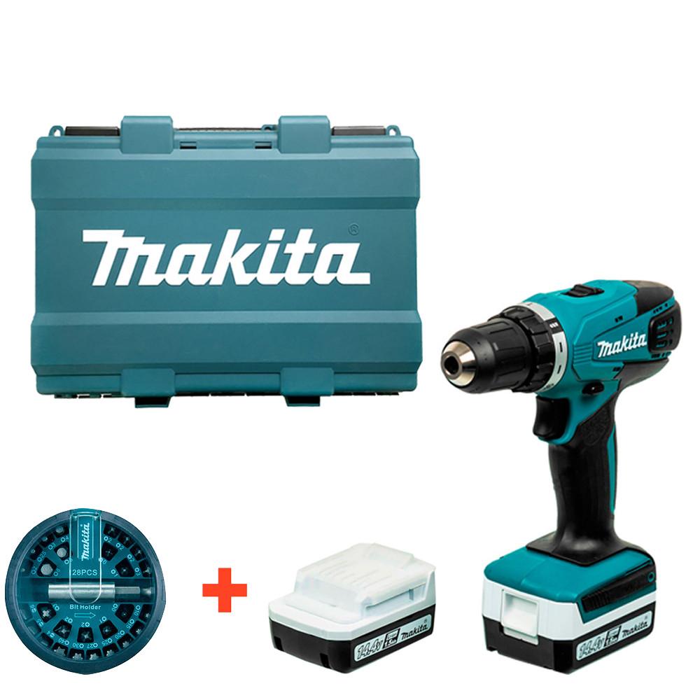 Аккумуляторный шуруповерт Makita DF 347 DWE + 2 акб 14.4 V 1.5 Ah + з/у + набор бит (DF347DWEX)