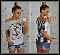 Женская футболка Разлетайка - тельняшка Yacht Club