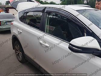 Дефлекторы окон для Toyota Rav 4 (2013-2018) PREMIUM с хром молдингом