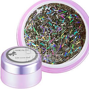 Глиттерный гель Silk Love Gel Lilly Beaute №01, 5 г голограммное серебро