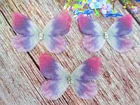 "Аппликация, ""Бабочка шифоновая"", двухслойная, цвет на фото, 50х30 мм, 1 шт."