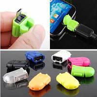 Адаптер конвертер OTG USB-microUSB для смартфона планшета Зеленый