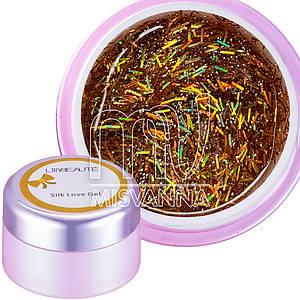 Глиттерный гель Silk Love Gel Lilly Beaute №02, 5 г голограммный оранжевый