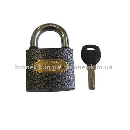 Замок навесной серый тяжелый лазерный ключ 38 мм (120шт)