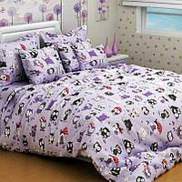 Детское постельное белье полуторное Совы, Бязь голд Фиолетовый