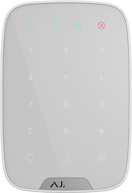 Беспроводная сенсорная клавиатура Ajax KeyPad, Jeweller, 3V*4ААА, белая (5652)
