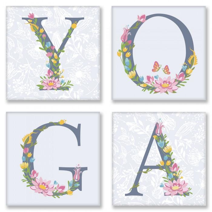 Раскраска по номерам Квартет Слово YOGA Прованс CH116 Идейка 4 шт. по 18 х 18 см