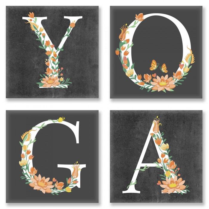 Живопись по номерам Квартет Слово YOGA Лофт CH118 Идейка 4 шт. по 18 х 18 см