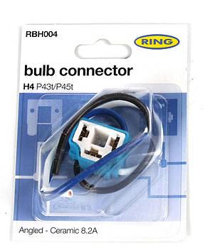 Разъём для ламп керамический H4 (угловой выход кабеля)  (RBH004) RING