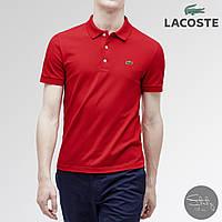 Мужская красная футболка поло/тенниска лакост с воротником, пуговицами Lacoste с крокодилом, реплика, фото 1