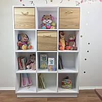 Книжный стеллаж для книг и игрушек с ящиками FeliFam Scandi на 4 яруса
