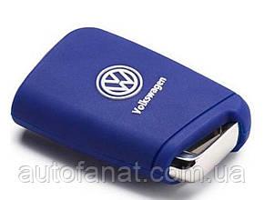 Оригинальный силиконовый чехол для ключа Volkswagen Key Cover, Golf 7 (MQB), Blue (000087012AL3JJ)