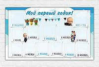 """Плакат для праздника """"Босс Молокосос"""" (120см*75см) """"Мой первый годик""""(Рус.) голубой"""