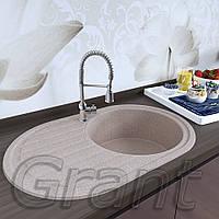 Кухонная гранитная мойка 770х500 овальной формы с одной чашей и крылом от ТМ Grant модель Mars цвет avena