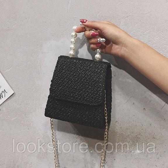 Летняя соломенная сумка с жемчугом на цепочке черная