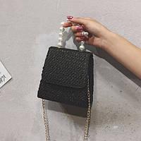 Летняя соломенная сумка с жемчугом на цепочке черная, фото 1