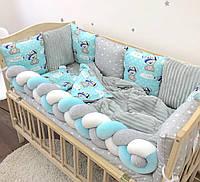 """Комплект в кроватку для новорожденного""""Мишки Boy"""""""