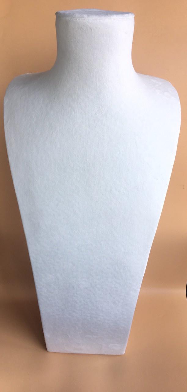 Бюст ювелирный 53 см белый велюр