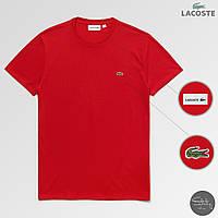 Мужская красная городская/спортивная футболка с крокодилом лакост/Lacoste, реплика, фото 1