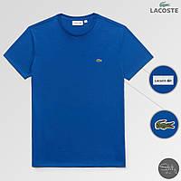 Яркая летняя голубая мужская футболка с крокодилом лакост/Lacoste, реплика, фото 1