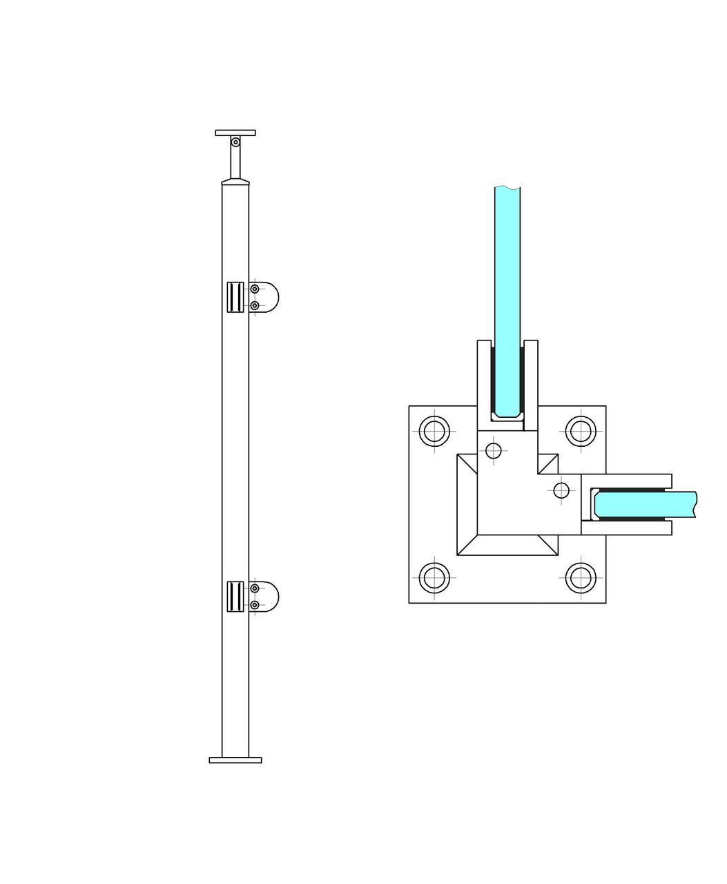 ODF-19-08-01-H950 Угловая стойка ограждения под стеклянное наполнение и квадратный поручень