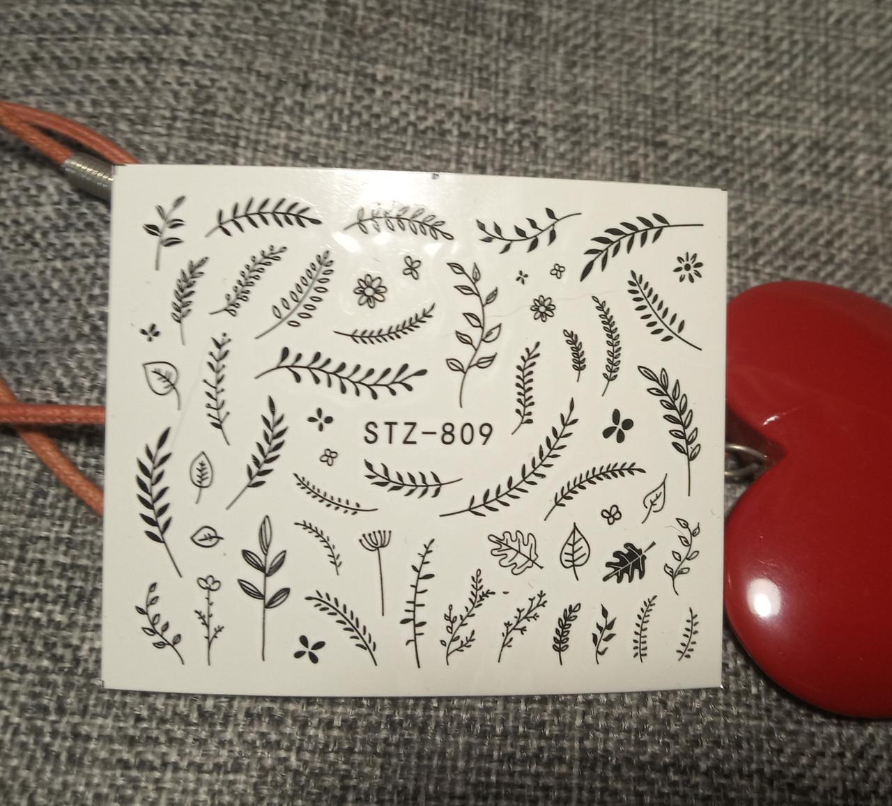 Слайдер-дизайн для ногтей (водные наклейки на ногти) STZ-809