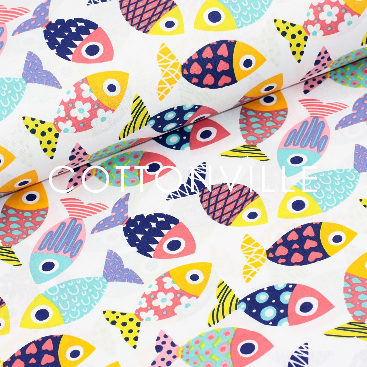 ✁ Отрезы хлопковой ткани Рыбки разноцветные