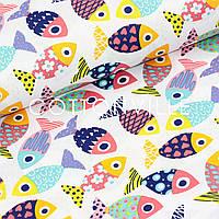 ✁ Отрезы хлопковой ткани Рыбки разноцветные, фото 1