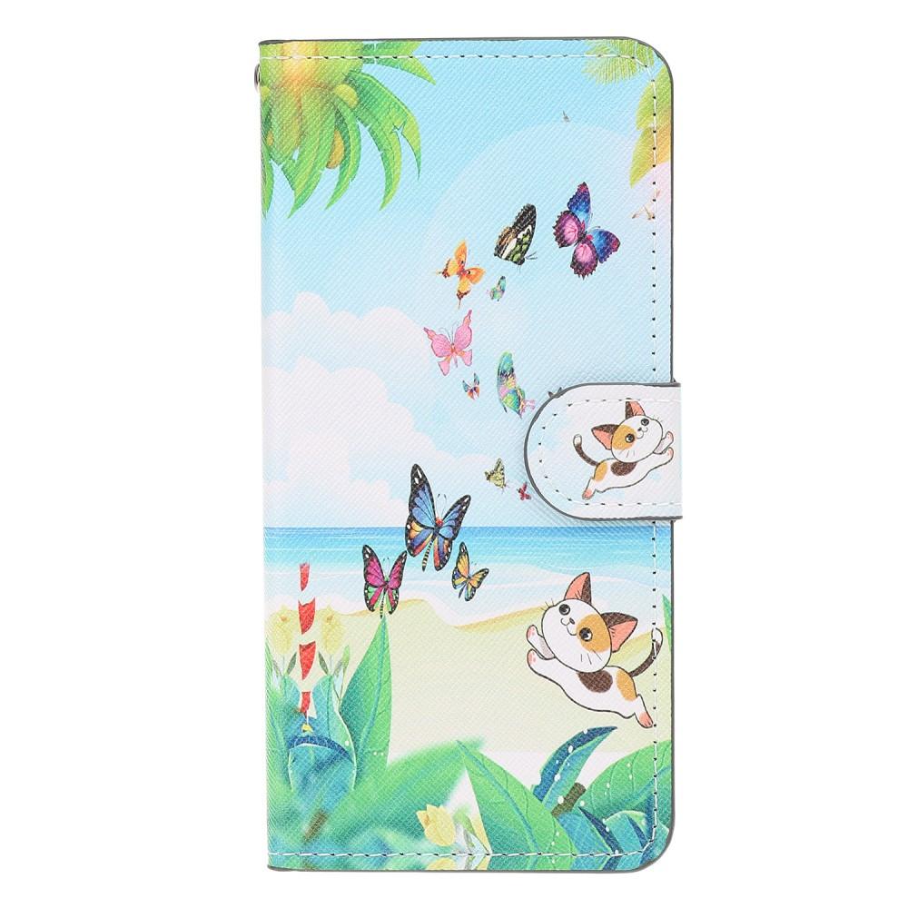 Чехол книжка для Samsung Galaxy A50 A505FD боковой с отсеком для визиток, Котенок и бабочки