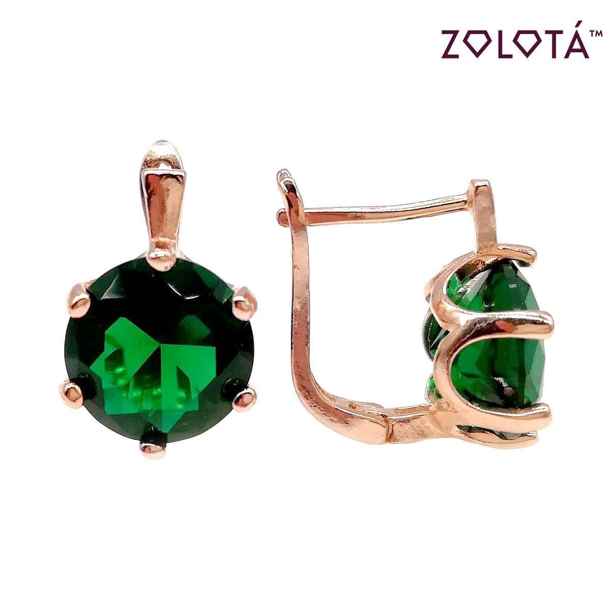 Серьги Zolota с зелеными фианитами (куб. цирконием), из медицинского золота, в позолоте, ЗЛ00367 (1)