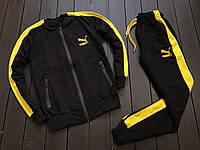 Мужской спортивный костюм пума (Puma) с лампасами (мастерка/бомбер), без капюшона