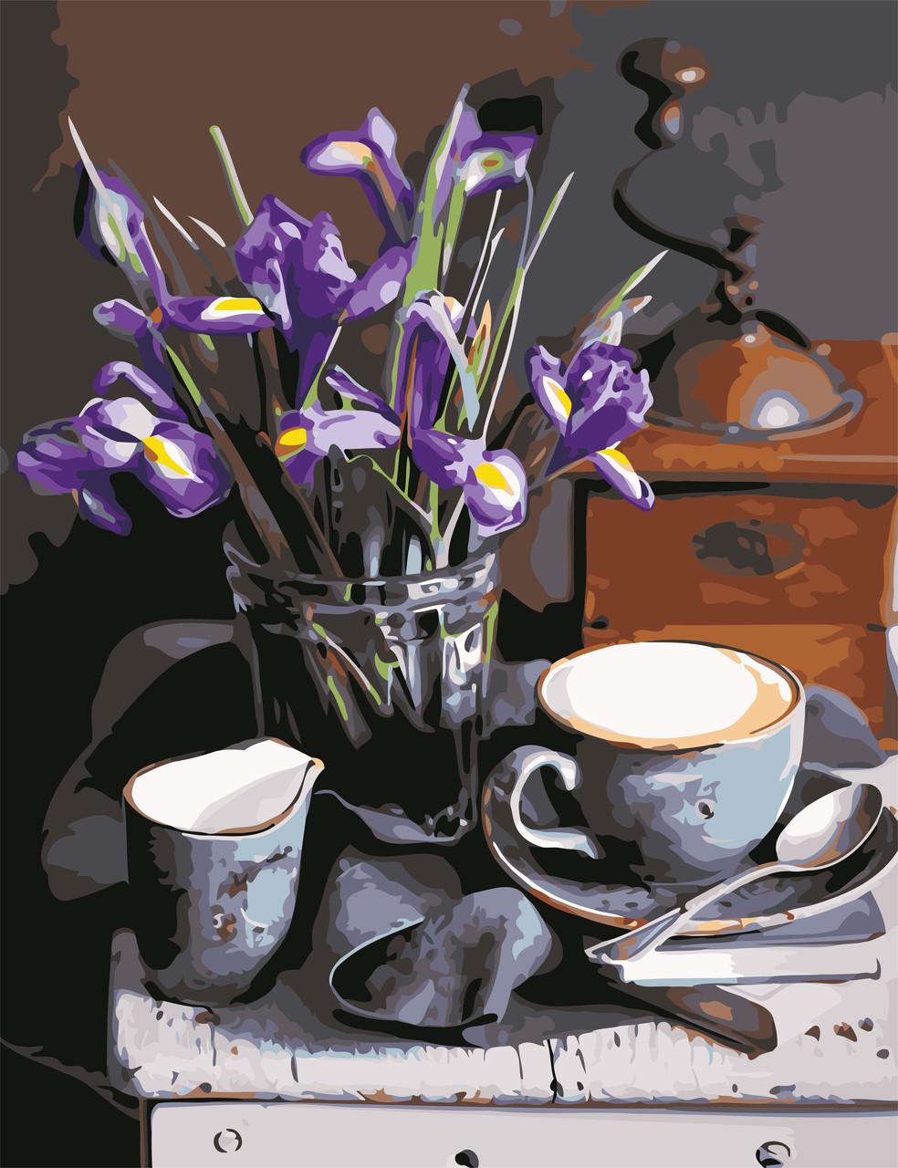 Картина по номерам Кофе и ирисы ArtStory AS0631 50 х 65 см