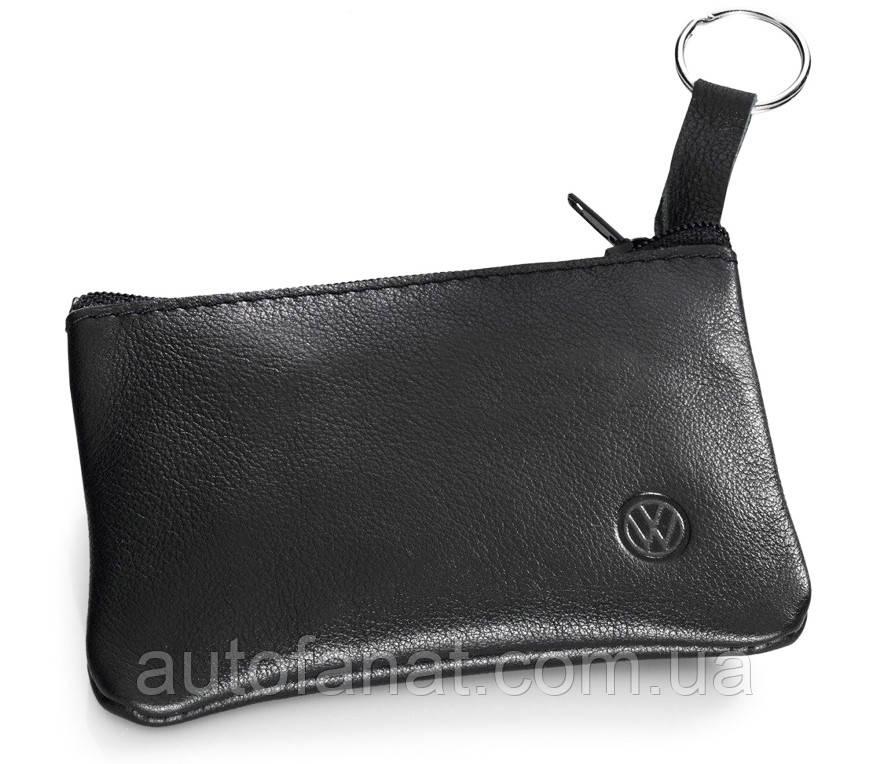 Оригинальная кожаная ключница Volkswagen Leather Key Pouch, Black (000087402A)
