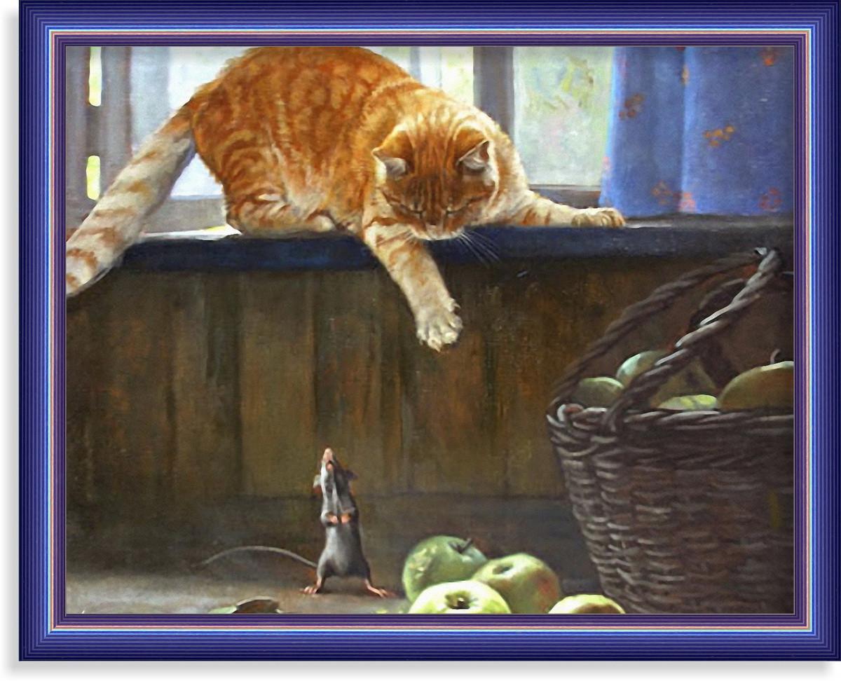 Репродукция  современной картины  «Я тебя не боюсь!»  28 x 35 cm