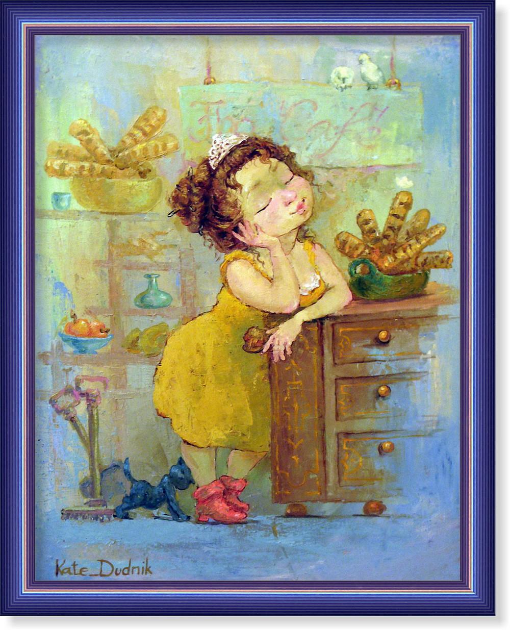Репродукция  современной картины  «Я немного устала»  28 x 35 cm
