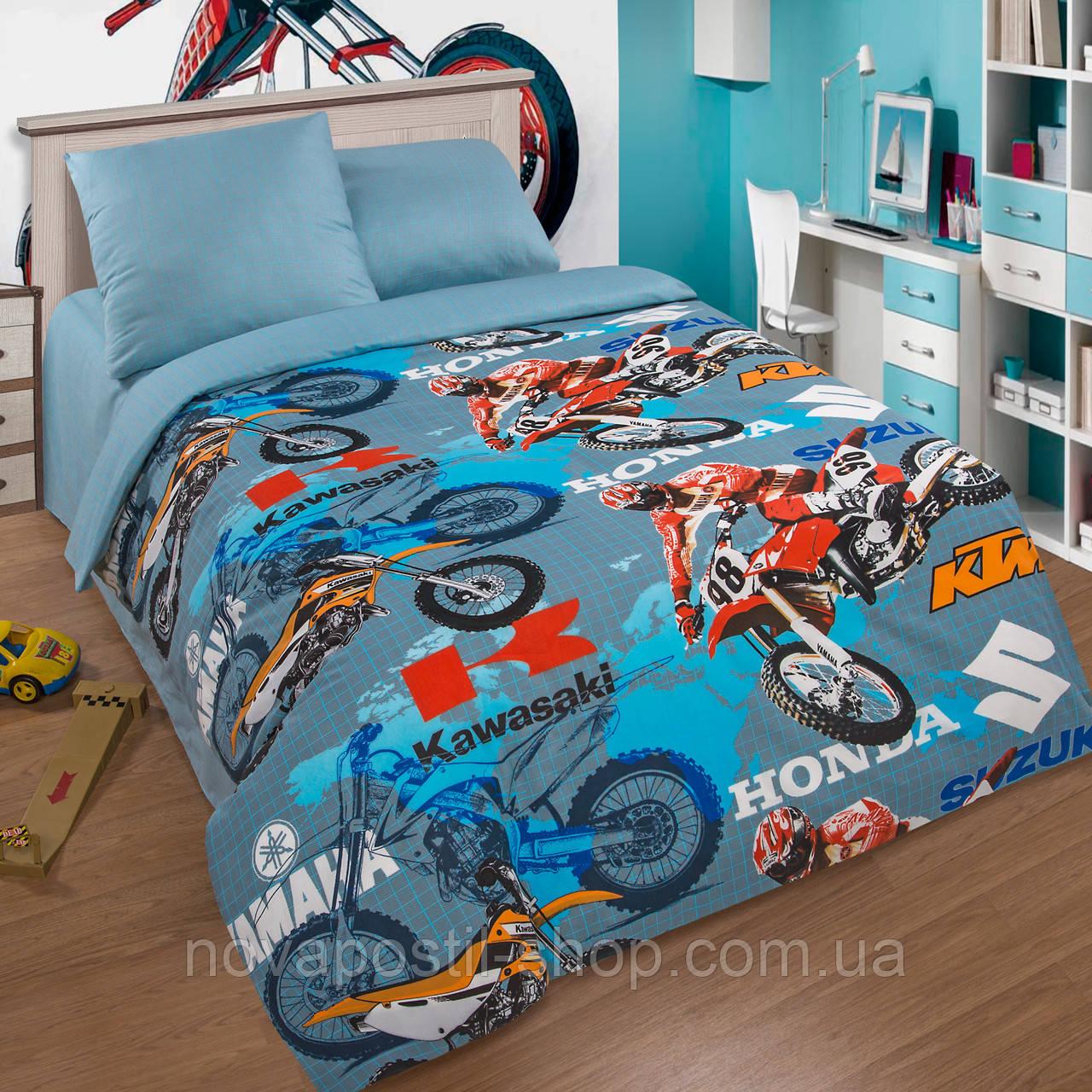 Мотокросс, комплект постельного белья подростковый для мальчиков