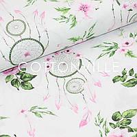 ✁ Отрезы бязи Ловцы снов с розами и зелеными листьями 100х80 см, фото 1