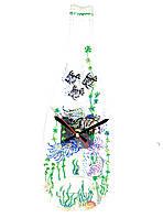 Часы из плавленой стеклянной бутылки Подводный мир с витражной росписью
