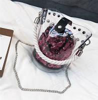 Женская прозрачная сумка ведро с канаткой и мешочком в пайетках розовая, фото 1