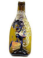 Часы настенные из стеклянной винной бутылки Красотка, витражная роспись по стеклу