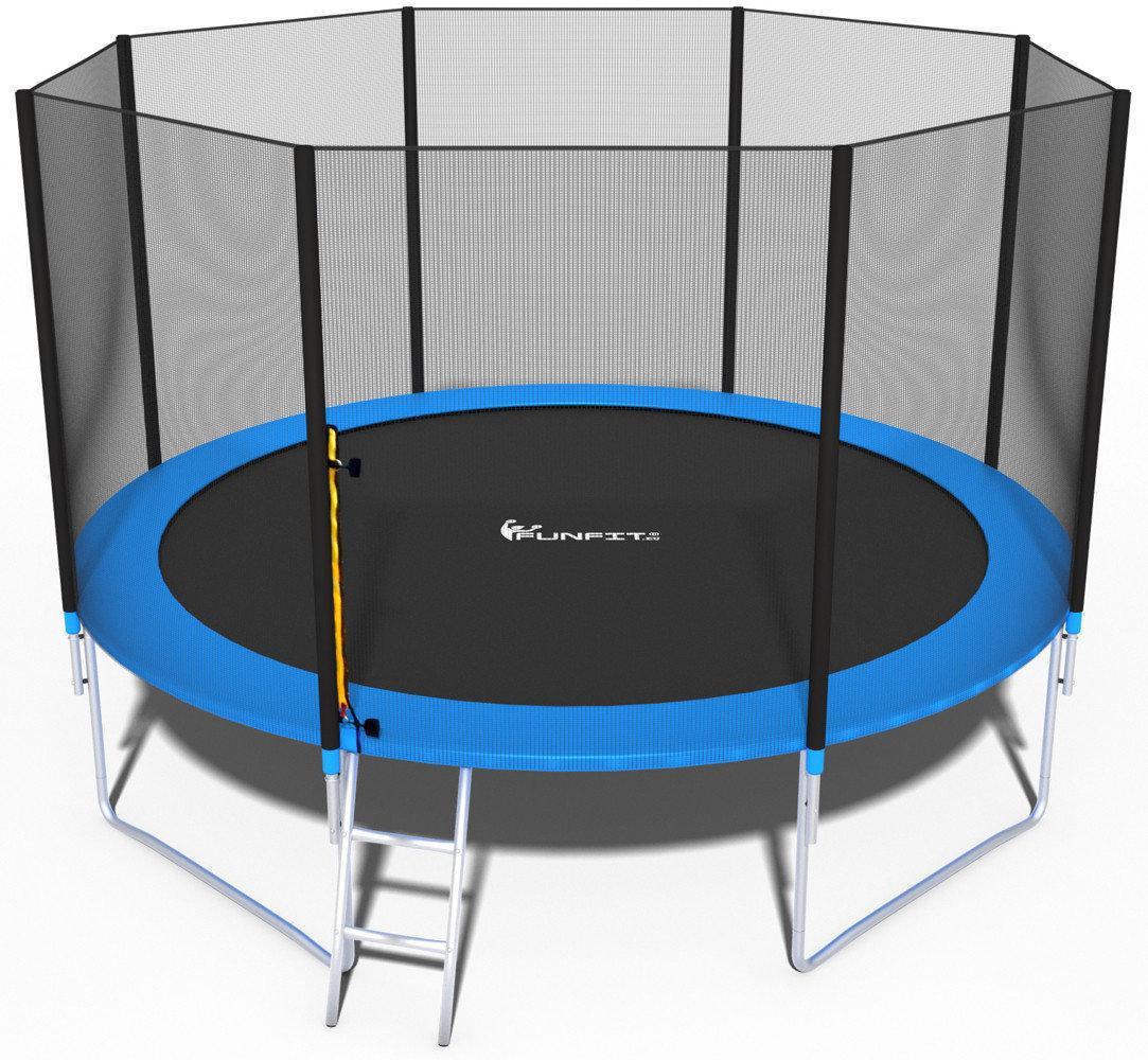 Батут FunFit 374 см для дітей і дорослих з захисною сіткою і драбиною