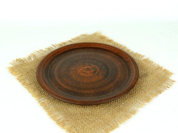 Тарелка простая 200 мм из красной глины