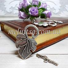 """Застежка-тогл """"Виноградный листок"""", античное серебро, 4 см,  1 комплект"""
