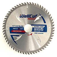 Диск пильный по дереву для циркулярной и торцовочной пилы 200х32 WellCut Standard 60Т