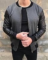 Мужская легкая куртка без капюшона/бомбер/ветровка с кожаными рукавами, черно-серая, фото 1