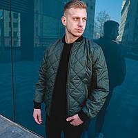 Мужская куртка/бомбер без капюшона, стеганая весна/осень/демисезонная, хаки/зеленая, фото 1