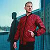 Мужская куртка/бомбер без капюшона, стеганая весна/осень/демисезонная, бордовая/красная