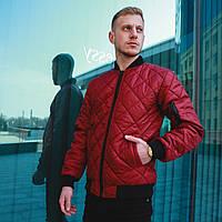 Мужская куртка/бомбер без капюшона, стеганая весна/осень/демисезонная, бордовая/красная, фото 1
