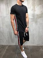 Мужской летний костюм/комплект/двойка шорты и футболка с лампасами/боковыми полосками, черный, фото 1