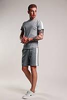 Мужской летний костюм/комплект/набор/двойка шорты с футболкой с белыми лампасами/боковыми полосами, серый, фото 1